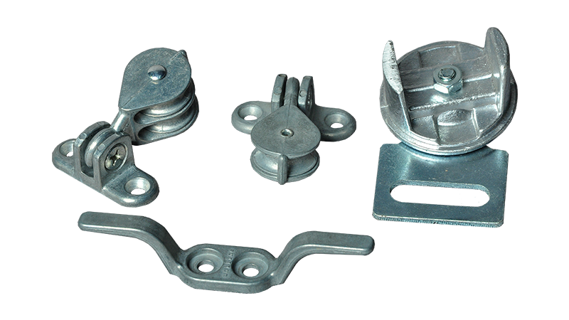 Stainless steel or galvanised brackets and pulleys are available