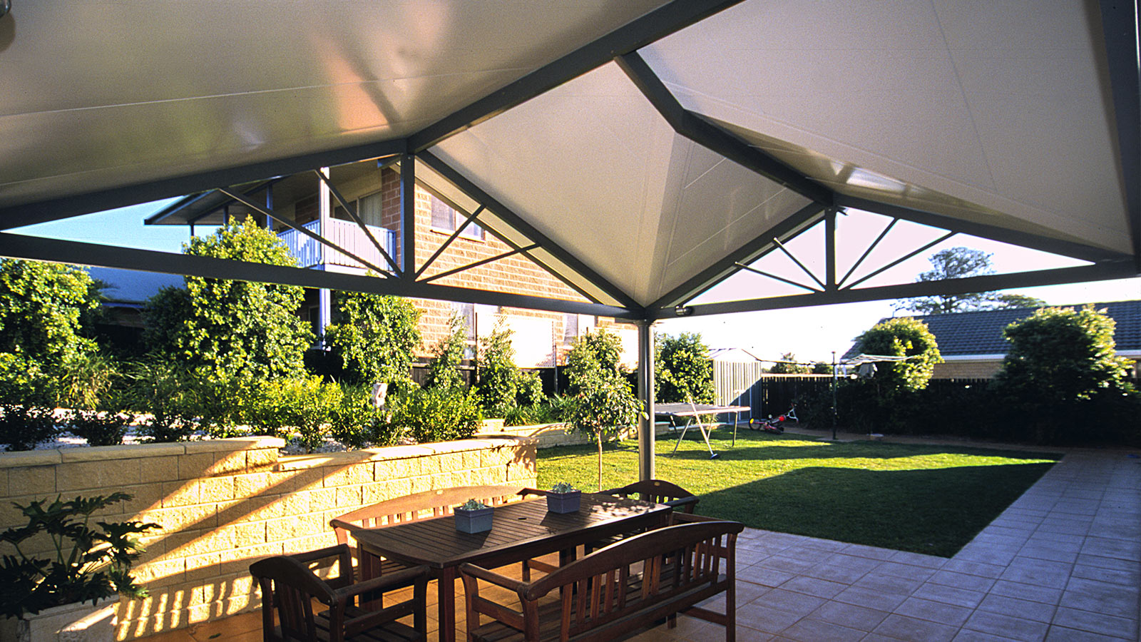 pitched/gabled patio covers - atlas awnings